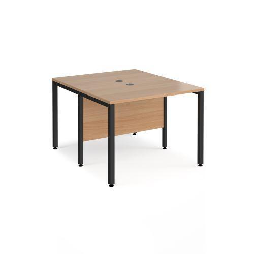 Maestro 25 back to back straight desks 1000mm x 1200mm - black bench leg frame, beech top - Furniture
