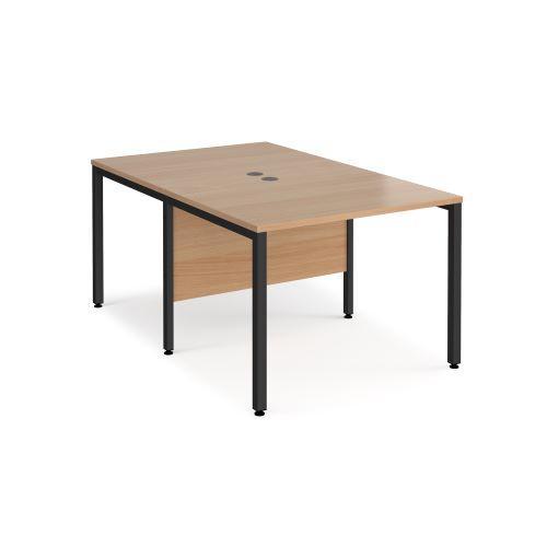 Maestro 25 back to back straight desks 1000mm x 1600mm - black bench leg frame, beech top - Furniture