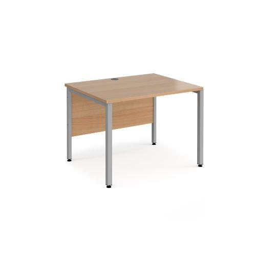 Maestro 25 straight desk 1000mm x 800mm - black bench leg frame, beech top - Furniture