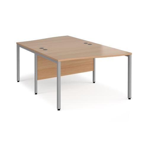 Maestro 25 back to back wave desks 1200mm deep - black bench leg frame, beech top - Furniture