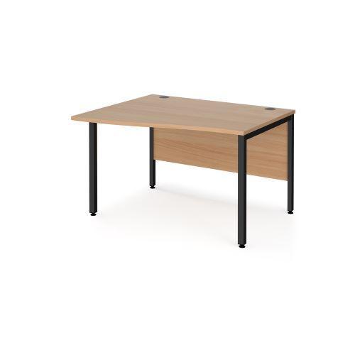 Maestro 25 left hand wave desk 1200mm wide - black bench leg frame, beech top - Furniture