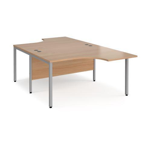 Maestro 25 back to back ergonomic desks 1400mm deep - black bench leg frame, beech top - Furniture