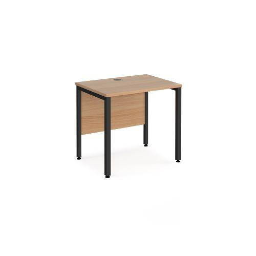 Maestro 25 straight desk 800mm x 600mm - black bench leg frame, beech top - Furniture