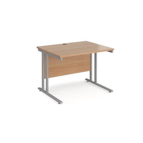 Maestro 25 straight desk 1000mm x 800mm - black cantilever leg frame, beech top - Furniture