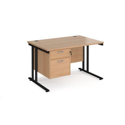 Maestro 25 straight desk 1200mm x 800mm with 2 drawer pedestal - black cantilever leg frame, beech top - Furniture