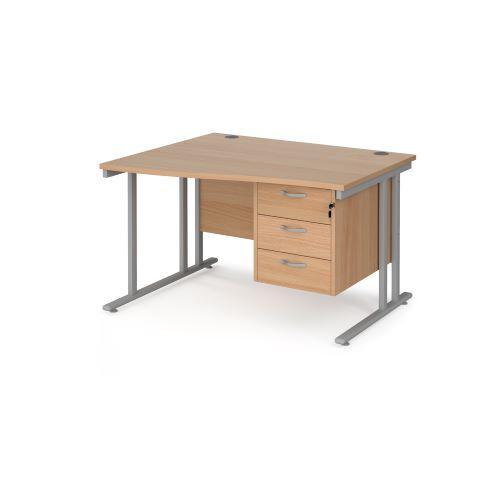 Maestro 25 left hand wave desk 1200mm wide with 3 drawer pedestal - black cantilever leg frame, beech top - Furniture