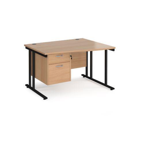Maestro 25 right hand wave desk 1200mm wide with 2 drawer pedestal - black cantilever leg frame, beech top - Furniture