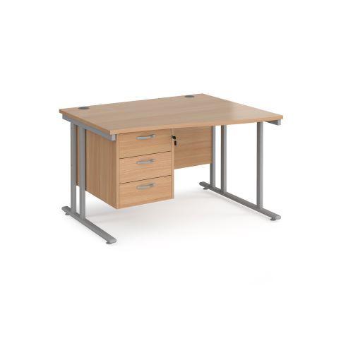 Maestro 25 right hand wave desk 1200mm wide with 3 drawer pedestal - black cantilever leg frame, beech top - Furniture