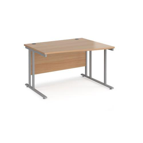 Maestro 25 right hand wave desk 1200mm wide - black cantilever leg frame, beech top - Furniture