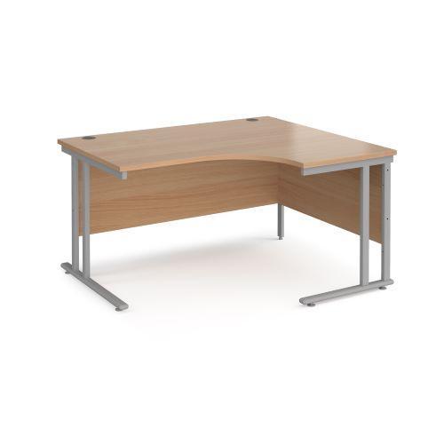 Maestro 25 right hand ergonomic desk 1400mm wide - black cantilever leg frame, beech top - Furniture
