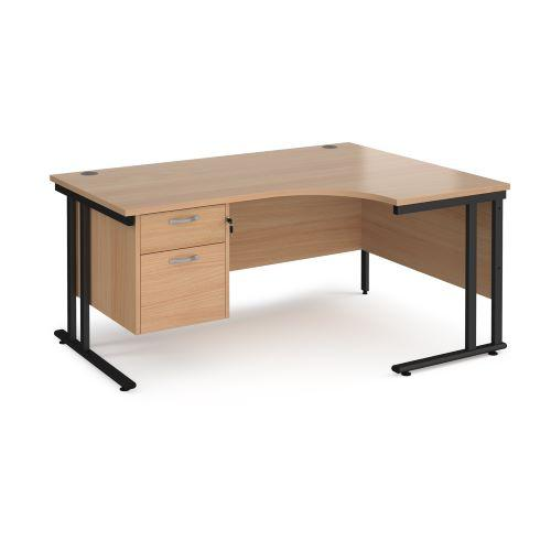 Maestro 25 right hand ergonomic desk 1600mm wide with 2 drawer pedestal - black cantilever leg frame, beech top - Furniture