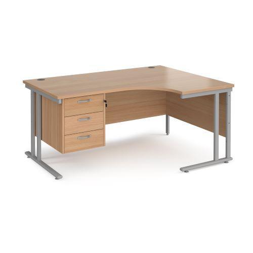 Maestro 25 right hand ergonomic desk 1600mm wide with 3 drawer pedestal - black cantilever leg frame, beech top - Furniture