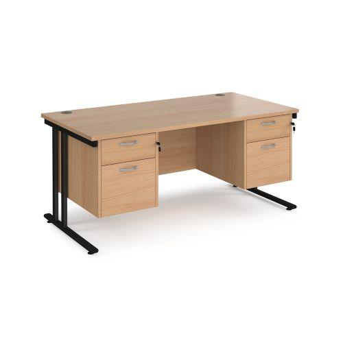 Maestro 25 straight desk 1600mm x 800mm with two x 2 drawer pedestals - black cantilever leg frame, beech top - Furniture