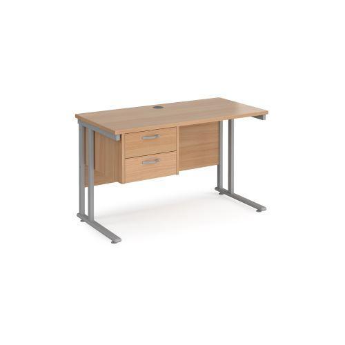 Maestro 25 straight desk 1200mm x 600mm with 2 drawer pedestal - black cantilever leg frame, beech top - Furniture