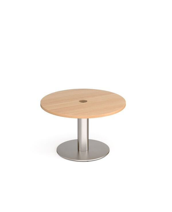 Monza circular coffee table 800mm with central circular cutout 80mm - beech - Furniture