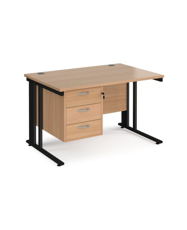 Maestro 25 straight desk 1200mm x 800mm with 3 drawer pedestal - black cable managed leg frame, beech top - Furniture