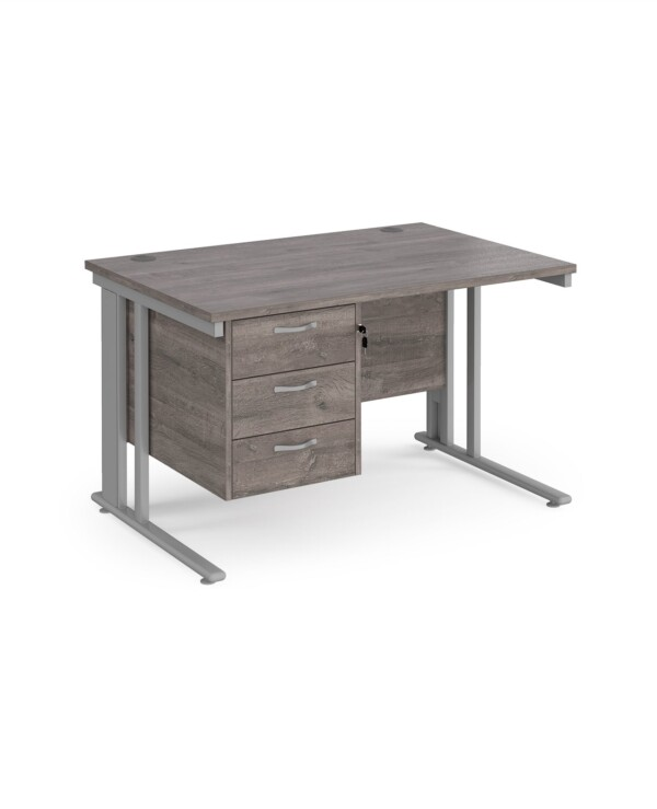 Maestro 25 cable managed 800mm deep desk with 3 drawer ped