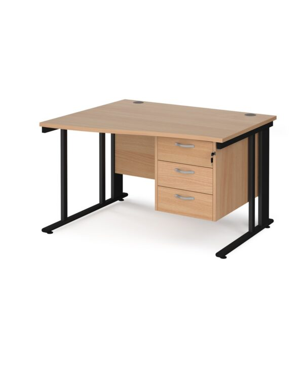 Maestro 25 left hand wave desk 1200mm wide with 3 drawer pedestal - black cable managed leg frame, beech top - Furniture