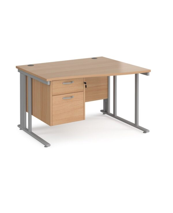 Maestro 25 right hand wave desk 1200mm wide with 2 drawer pedestal - black cable managed leg frame, beech top - Furniture