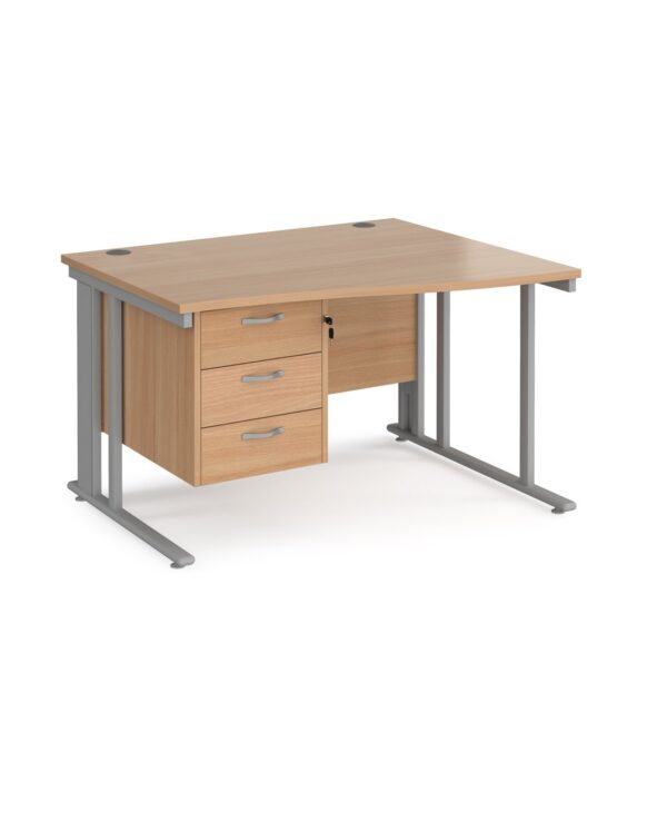 Maestro 25 right hand wave desk 1200mm wide with 3 drawer pedestal - black cable managed leg frame, beech top - Furniture
