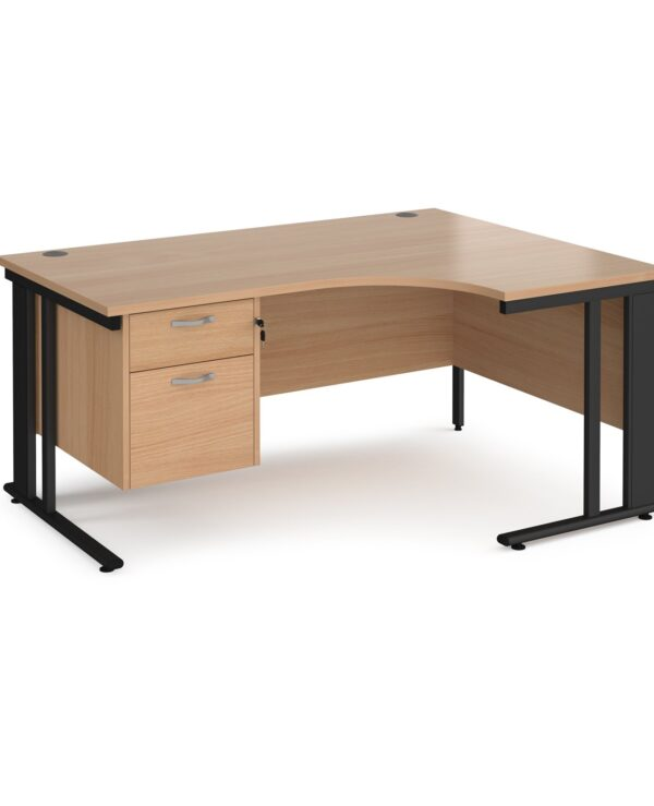 Maestro 25 right hand ergonomic desk 1600mm wide with 2 drawer pedestal - black cable managed leg frame, beech top - Furni...