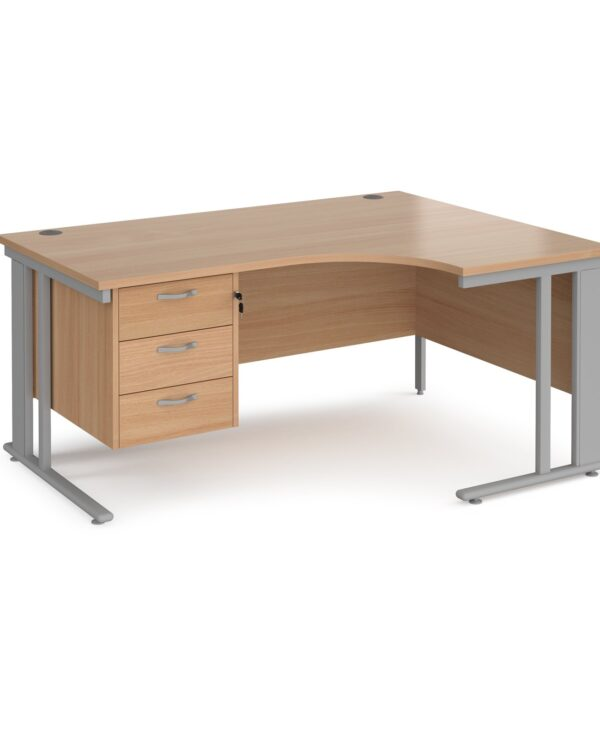 Maestro 25 right hand ergonomic desk 1600mm wide with 3 drawer pedestal - black cable managed leg frame, beech top - Furni...