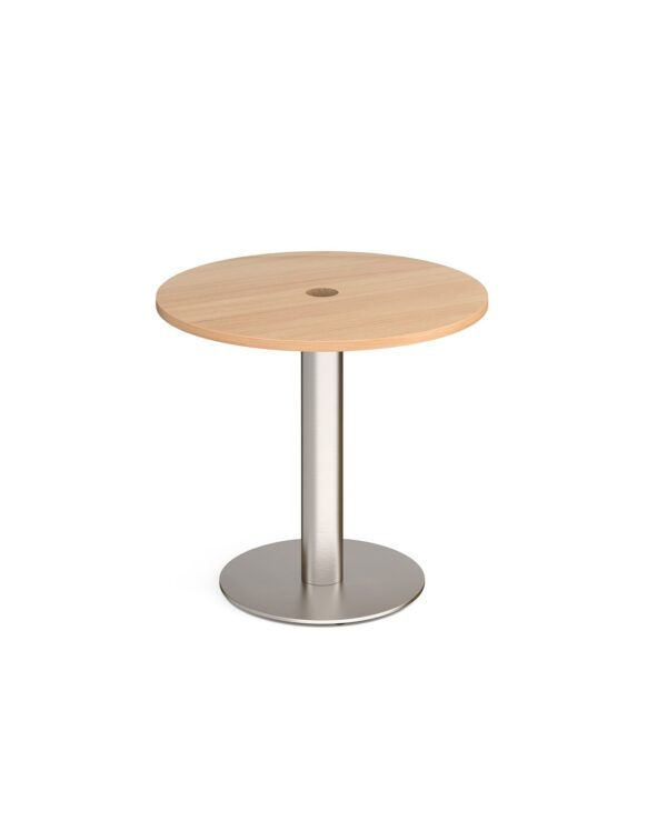 Monza circular dining table 800mm with central circular cutout 80mm - beech - Furniture