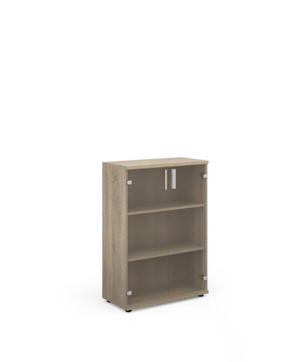 Magnum low cupboard with glass doors 1130mm high - light oak - Furniture