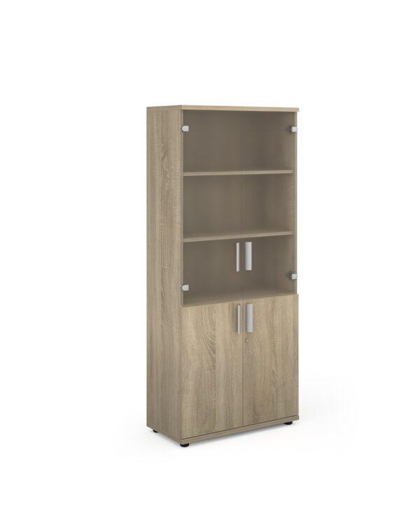 Magnum combination unit with glass upper doors 1840mm high - light oak - Furniture