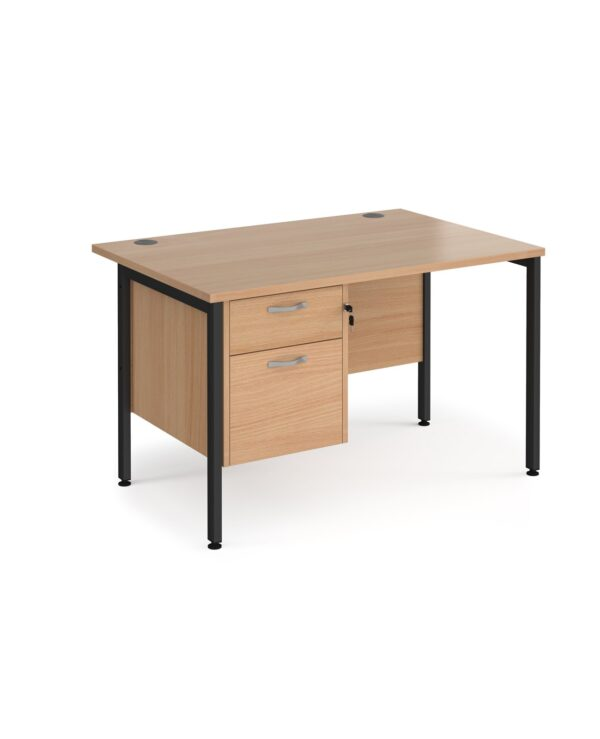 Maestro 25 straight desk 1200mm x 800mm with 2 drawer pedestal - black H-frame leg, beech top - Furniture