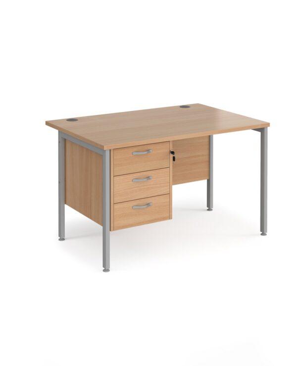Maestro 25 straight desk 1200mm x 800mm with 3 drawer pedestal - black H-frame leg, beech top - Furniture