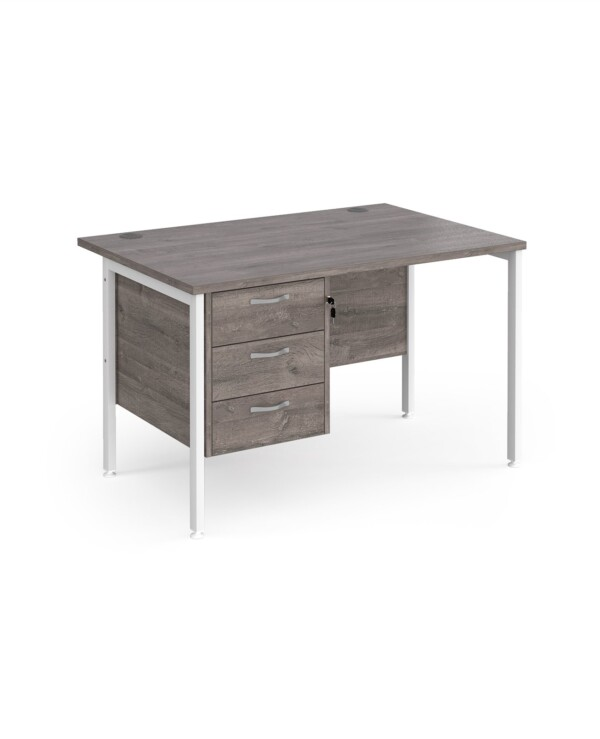 Maestro 25 H-Frame 800mm deep desk with 3 drawer ped