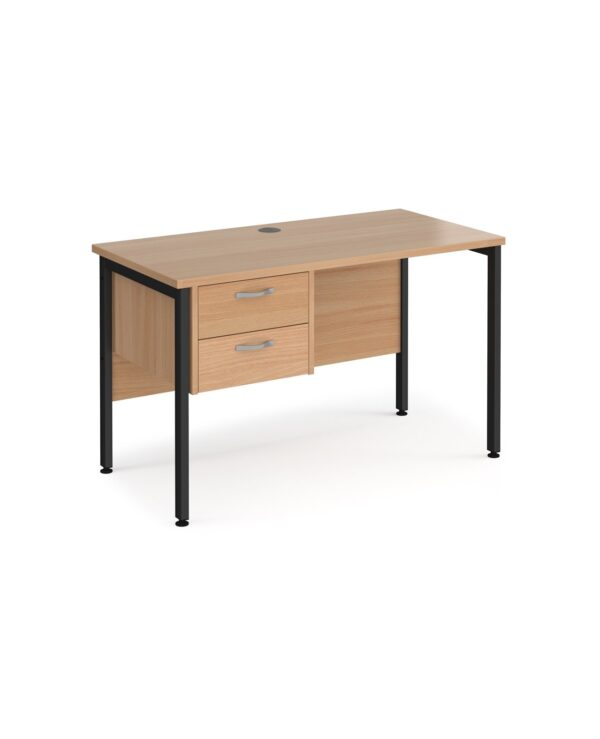 Maestro 25 straight desk 1200mm x 600mm with 2 drawer pedestal - black H-frame leg, beech top - Furniture