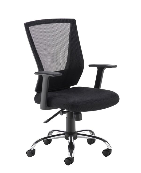 Miller black mesh back operator chair with black fabric seat and chrome base - Furniture