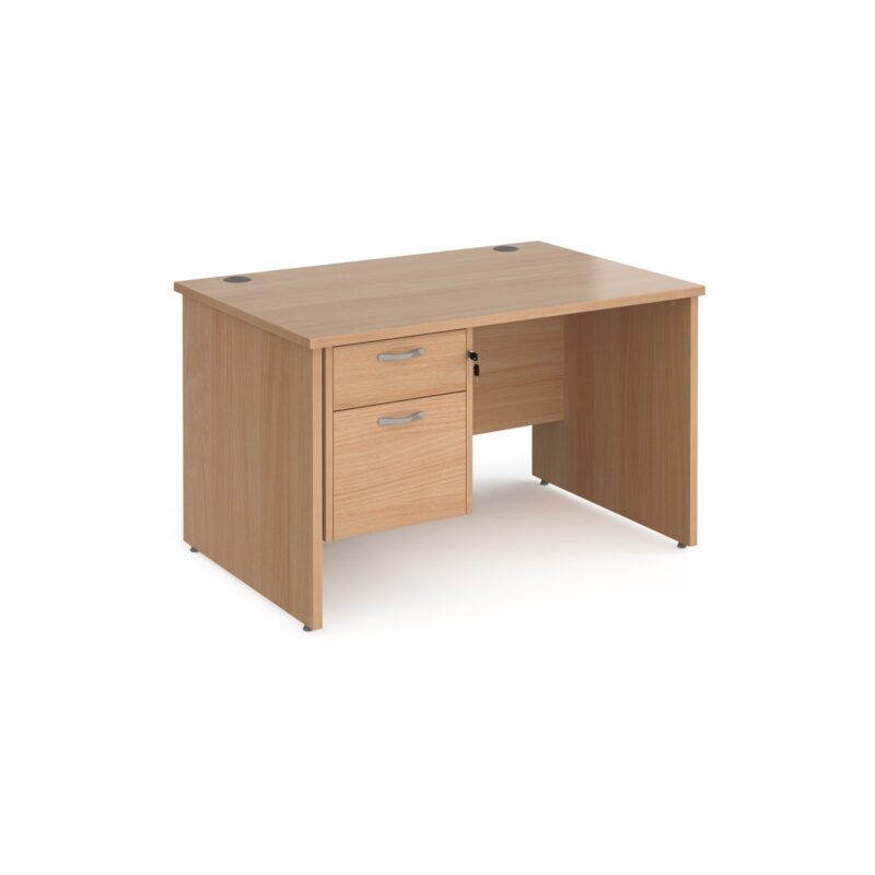 Maestro 25 straight desk 1200mm x 800mm with 2 drawer pedestal - beech top with panel end leg - Furniture