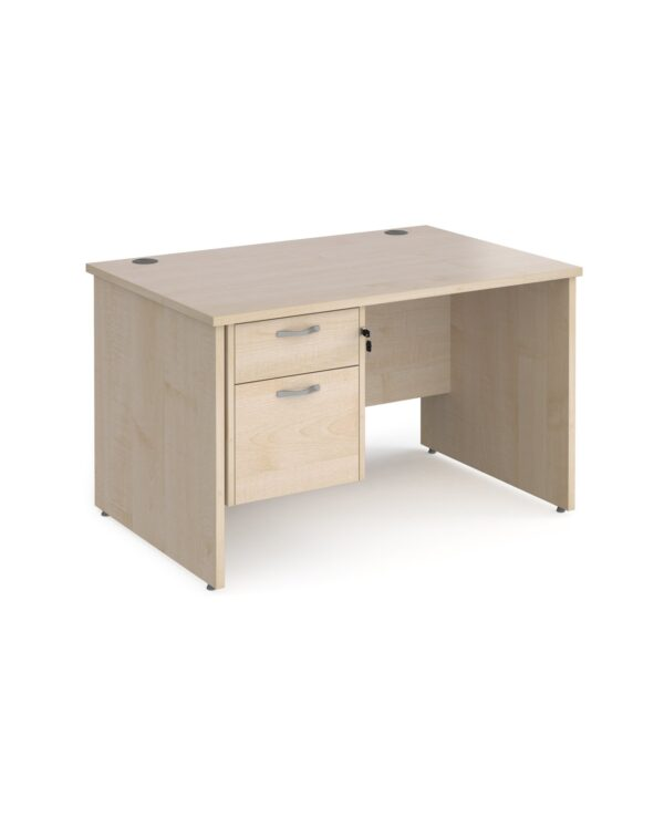 Maestro 25 straight desk 1200mm x 800mm with 2 drawer pedestal - maple top with panel end leg - Furniture