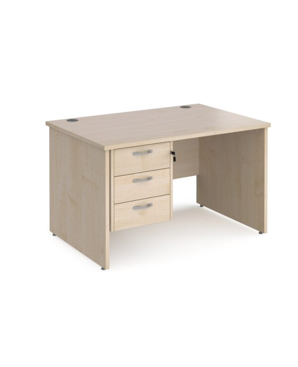 Maestro 25 straight desk 1200mm x 800mm with 3 drawer pedestal - maple top with panel end leg - Furniture