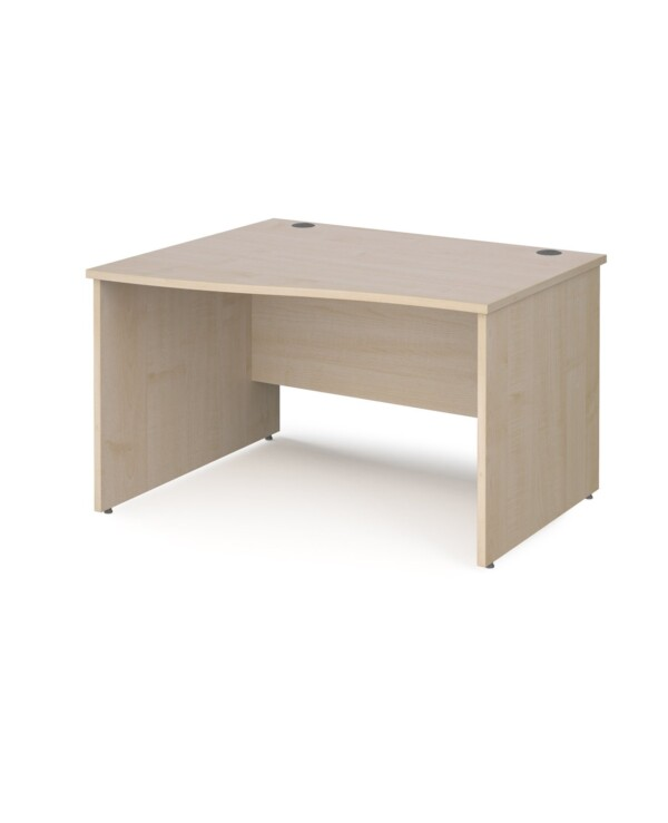 Maestro 25 left hand wave desk 1200mm wide - maple top with panel end leg - Furniture