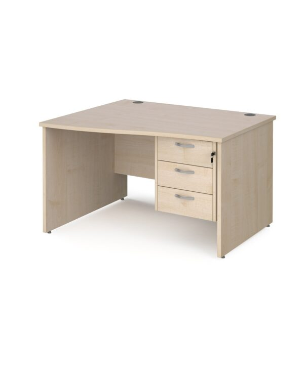 Maestro 25 left hand wave desk 1200mm wide with 3 drawer pedestal - maple top with panel end leg - Furniture