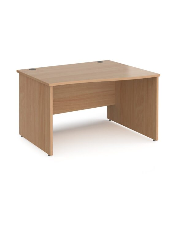 Maestro 25 right hand wave desk 1200mm wide - beech top with panel end leg - Furniture