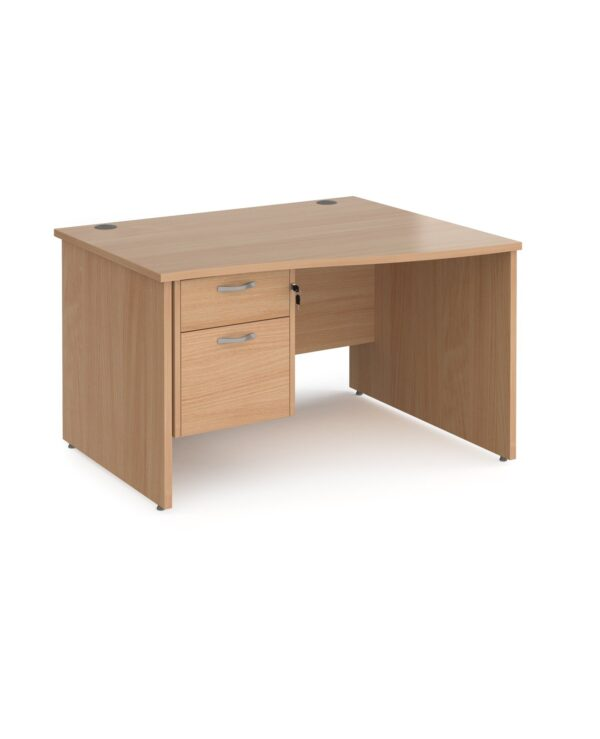 Maestro 25 right hand wave desk 1200mm wide with 2 drawer pedestal - beech top with panel end leg - Furniture