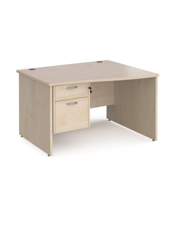 Maestro 25 right hand wave desk 1200mm wide with 2 drawer pedestal - maple top with panel end leg - Furniture