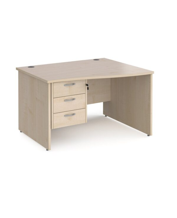 Maestro 25 right hand wave desk 1200mm wide with 3 drawer pedestal - maple top with panel end leg - Furniture