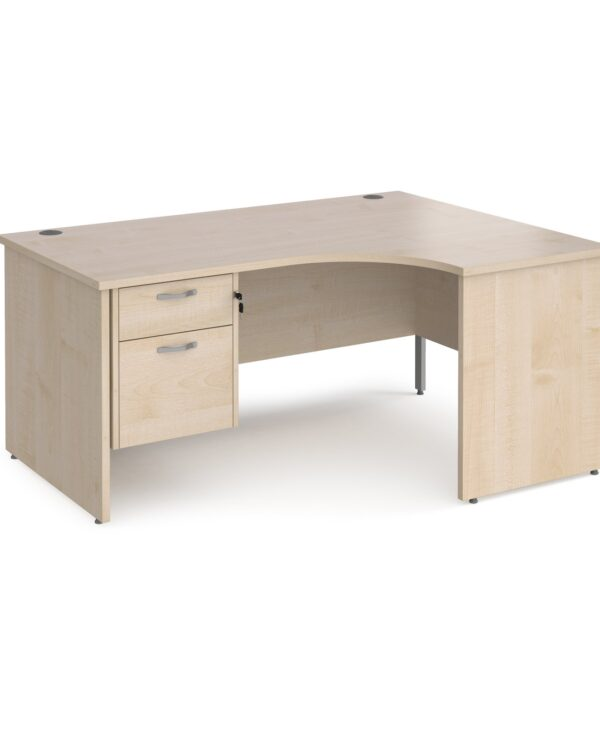 Maestro 25 right hand ergonomic desk 1600mm wide with 2 drawer pedestal - maple top with panel end leg - Furniture