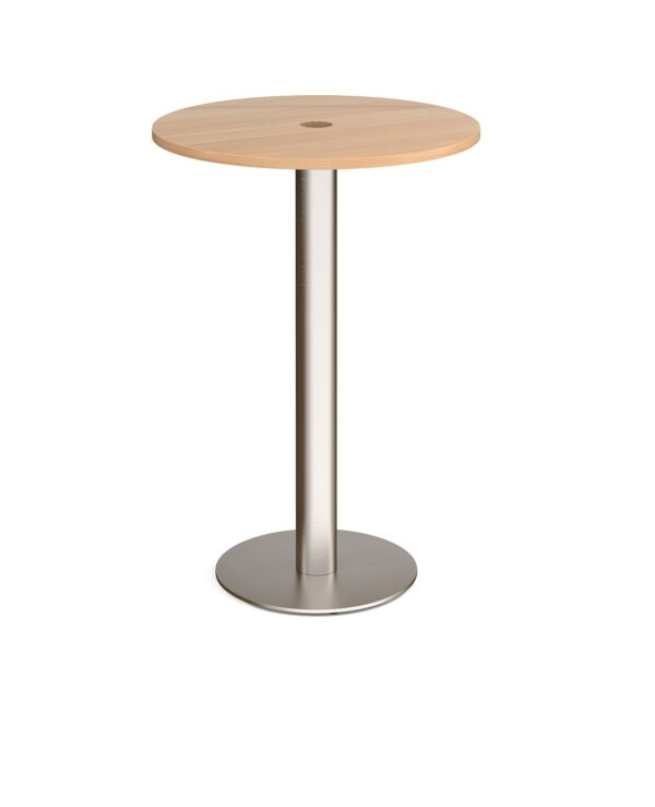 Monza circular poseur table 800mm with central circular cutout 80mm - beech - Furniture