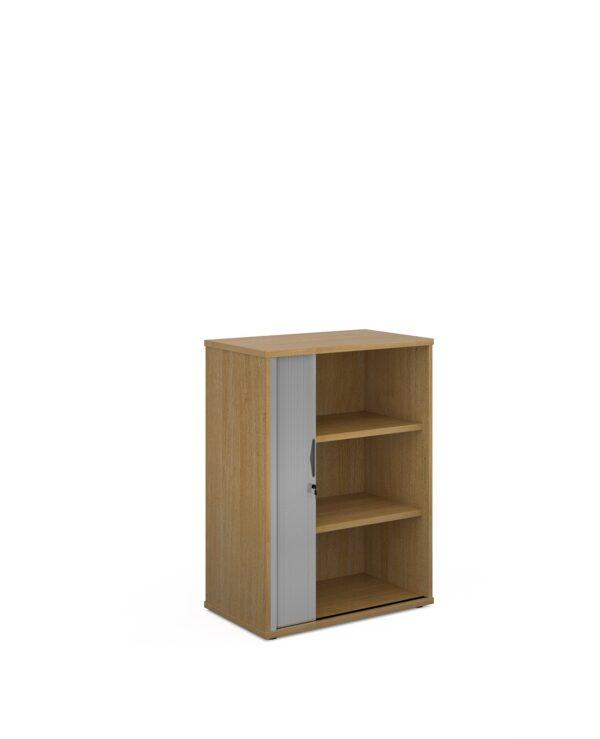 Universal single door tambour cupboard 1090mm high with 2 shelves - oak with silver door - Furniture