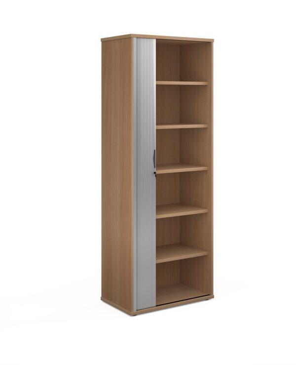 Universal single door tambour cupboard 2140mm high with 5 shelves - beech with silver door - Furniture