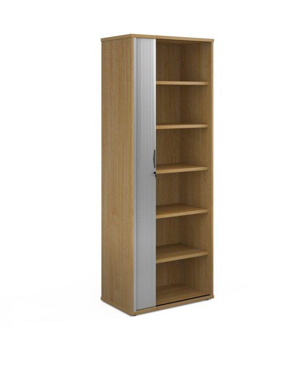 Universal single door tambour cupboard 2140mm high with 5 shelves - oak with silver door - Furniture