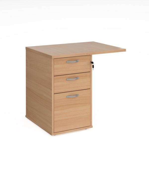 Desk high 3 drawer pedestal 600mm deep with 800mm flyover top - beech - Furniture