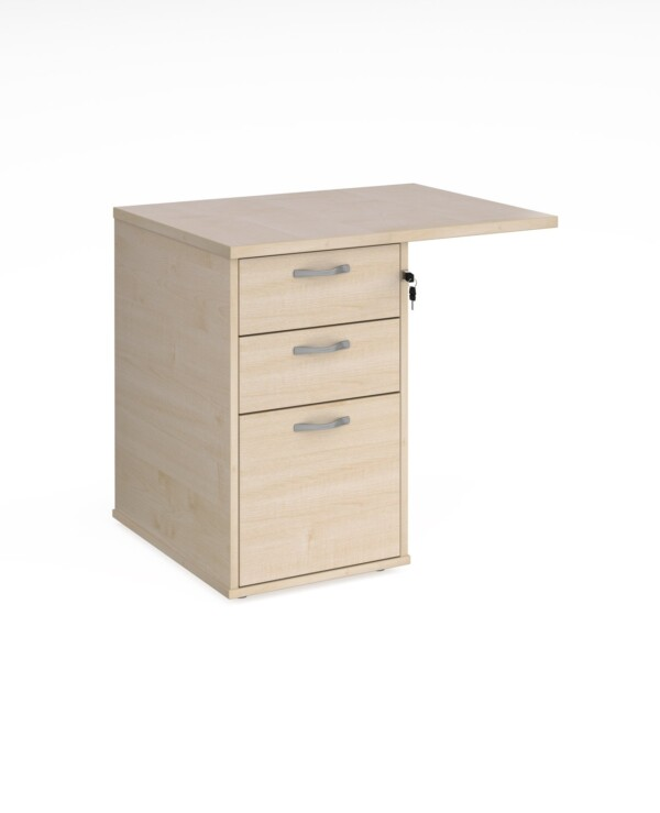 Desk high 3 drawer pedestal 600mm deep with 800mm flyover top - maple - Furniture